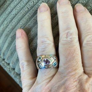 Wide Band Gemstone Ring
